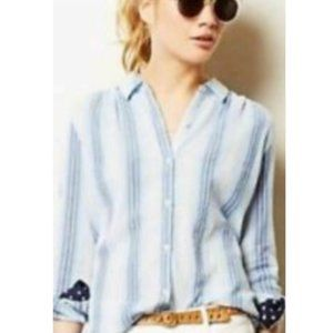 Anthropologie Blue Striped Lace Button Blouse